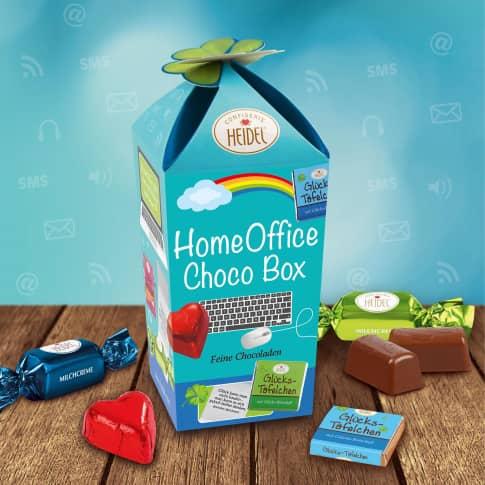 Choco Box Homeoffice, Edel-Vollmilchschokolade, Milchcreme, Nougatcreme und Haselnussstückchen Vorderansicht