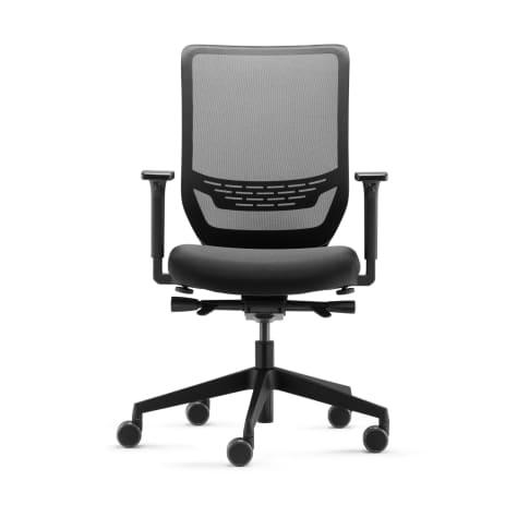 Bürostuhl Ben, ergonomisch geformt, höhenverstellbar, mit Synchron-Mechanik, rollbar, Kunststoff, Metall Vorderansicht