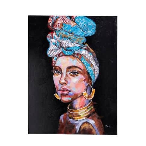 Bild Africa Lady, handgefertigt, Unikat, Baumwolle, Acrylfarbe, Holz, ca. B90 x H120 cm Vorderansicht