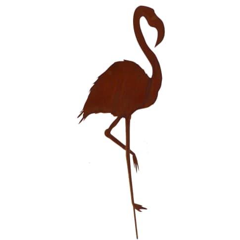 Gartenstecker Flamingo, handgefertigt, made in Germany, Rost-Optik, Metall, ca. H120 cm Vorderansicht