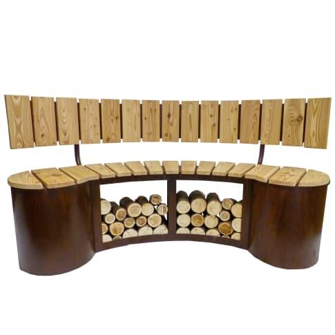 Sitzbank inkl. Lehne Holzlager Vorderansicht