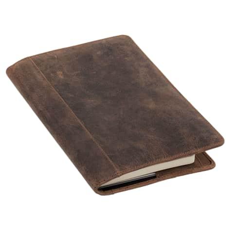 Ledereinband A5 Perkins, zwei Einstecktaschen für Notizbuch, 8 Kreditkartenfächer, Stiftschlaufe, Lesezeichen, Leder, ca. L22,5 cm Vorderansicht