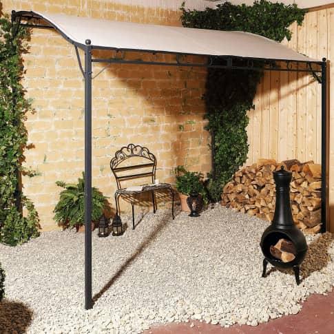 Wand-Pavillon Wave, Terrassenüberdachung, Metall, Polyester, ca. B300 x T250 x H260 cm Inszeniertes Bild