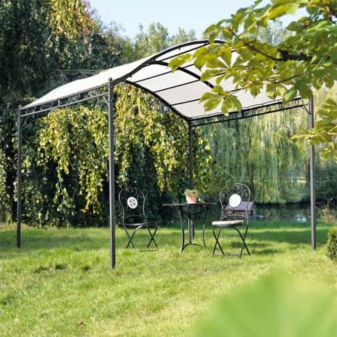 Outdoor-Pavillon Curve, lackiertes Eisen pulverbeschichtet, Dach aus Polyester Inszeniertes Bild