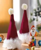 Weihnachtsmützen-Set, 2-tlg., ca. 50g Süßware, ca. H16cm, Ø 6cm Inszeniertes Bild