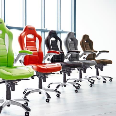 Bürostuhl Racing, höhenverstellbar, hochklappbare Armlehnen Inszeniertes Bild