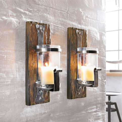 Wand-Kerzenhalter Wood, Eisen, Holz, Glas Inszeniertes Bild