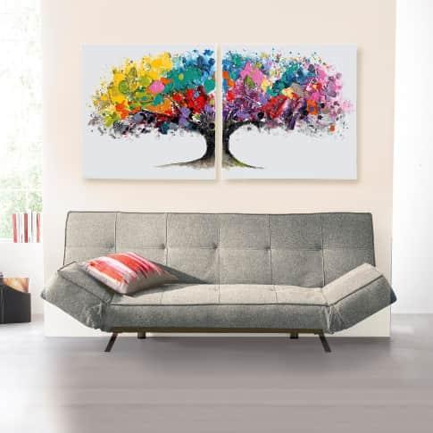 Bilder-Set, 2-tlg. Magic Tree, handgemalt, Leinwand, Holz, Acrylfarbe, ca. B160x H80cm Inszeniertes Bild