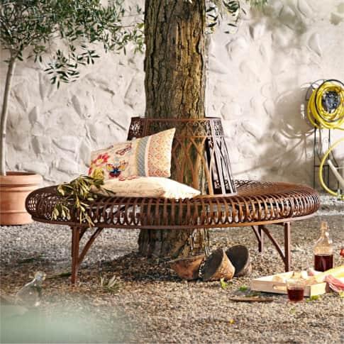 Outdoor-Bank Versailles, komplette Baumbank, rund, nostalgisch, Metall Inszeniertes Bild