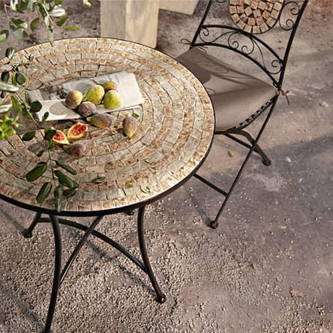 Outdoor-Tisch Kemo, mit Mosaikplatte, Metall, Steine, Höhe 72 x Ø 70 cm Inszeniertes Bild