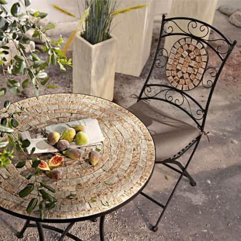 Outdoor-Stuhl-Set, 2-tlg. Kemo, mit Mosaik-Verzierung, Metall, Steine Inszeniertes Bild