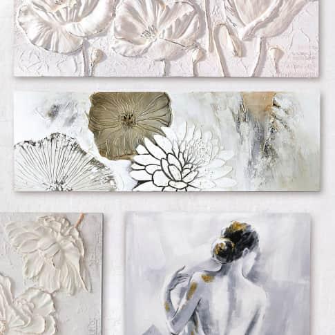 Bild Blüten Mix, Leinwand, Holz, Acrylfarbe, ca. B150x H50cm Inszeniertes Bild