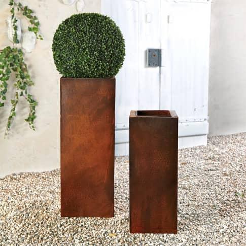 Pflanztopf-Set, 2-tlg. Corrido, 2-tlg., rustikal, Metall, Höhe 90 cm & 70 cm Inszeniertes Bild