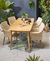 Outdoor-Stuhl Nora, mit Auflagen, modern, Kunststoffrattan, Massivholz Inszeniertes Bild