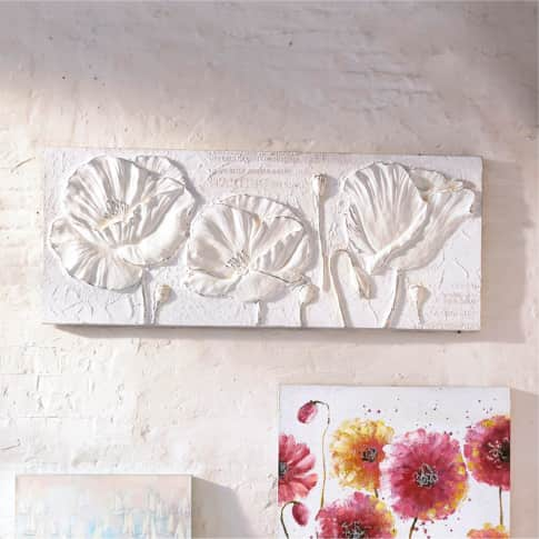Bild Square Flowers, handgemalt, Holz, ca.B150x H60cm Inszeniertes Bild