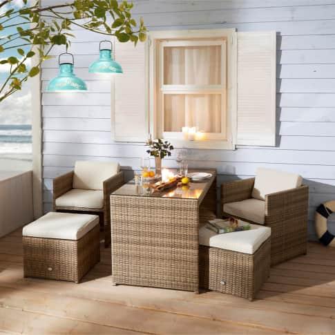 Outdoor-Möbel-Set, 5-tlg. Moreno, sehr platzsparend, inkl. Auflagen Inszeniertes Bild