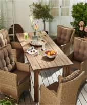 Outdoor-Tisch Ponto, Platte geölt & PU-beschichtet, Massivholz Inszeniertes Bild