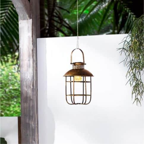 Solarleuchte zum Hängen Industrial, Gartenlaterne, Metall, ca. Ø22 x H38 cm Inszeniertes Bild
