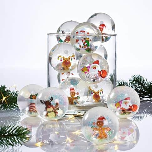 Flummi-Set, mit Licht, 12-tlg. Merry Christmas, mit Wechsellicht, Kunststoff, 65 mm Durchmesser Inszeniertes Bild