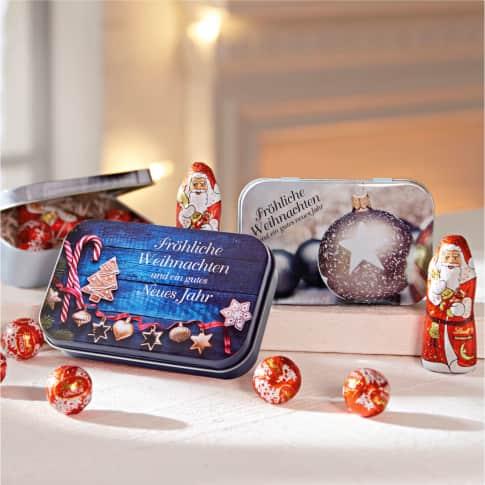 Weihnachtsdose, 24g Lindt-Füllung, Metall Inszeniertes Bild