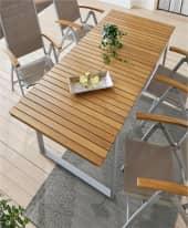 Outdoor-Tisch Capri, ausziehbar, Akazienholz, Aluminium, B150 x T90 x H74 cm Inszeniertes Bild