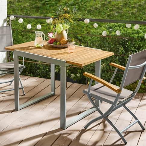 Outdoor-Stuhl-Set, 2-tlg., klappbar Capri, 2 Klapp-Sessel, verstellbare Rückenlehne, modern, Holz, Aluminium Inszeniertes Bild