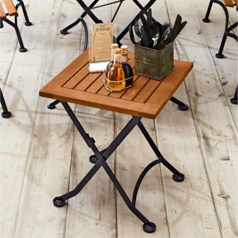 Outdoor-Beistelltisch Bellagio, Klapphocker, Holz, Flachstahl Inszeniertes Bild