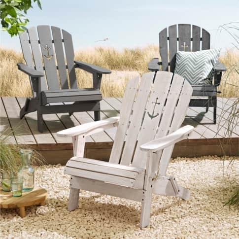 Outdoor-Stuhl Anker, Adirondack Chair klappbar, Maritimer Look, Holz Inszeniertes Bild