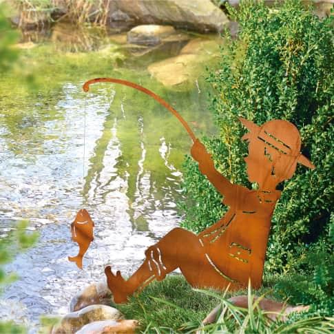 Gartenstecker Angler, in Rost-Optik, Höhe ca. 64 cm Inszeniertes Bild