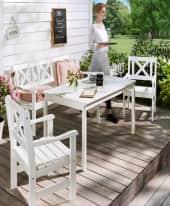 Outdoor-Möbel-Set, 4-tlg. Landhaus, mit Bank, Tisch und 2 Stühlen, weiß, Landhausstil, Kiefer massiv Inszeniertes Bild