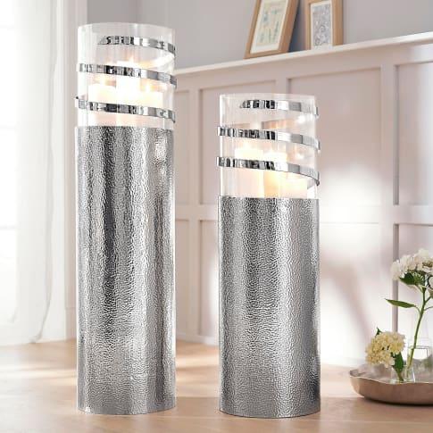 Bodenwindlicht Style, handarbeit, silberne Oberflächenhämmerung, edel, Glas, Metall Inszeniertes Bild