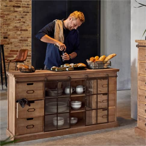 Kommode Rusty, rustikal, Holz, Glas, Metall, ca. 148 cm breit Inszeniertes Bild