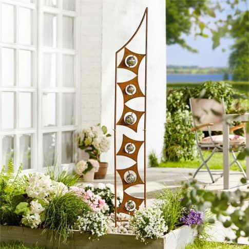 Gartenstecker Art Deco, Rost-Optik, Metall, mit Edelstahl-Kugeln, ca. 150 cm hoch Inszeniertes Bild