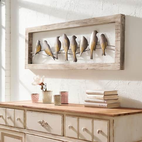 Wand-Objekt Vögel, handgearbeitet, ca. B120 x H40 cm Inszeniertes Bild