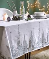 Tischdecke Winterwald, winterliches Druckmotiv, 100% Baumwolle, ca. L250 x B150 cm Inszeniertes Bild