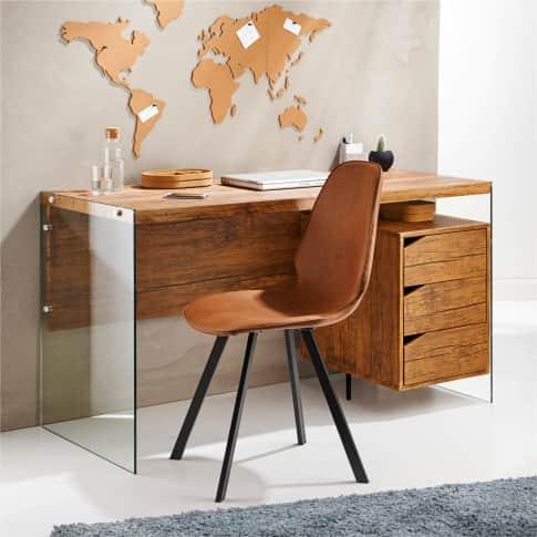 Schreibtisch San Francisco, Seitenteile aus Glas, 3 Schubladen Inszeniertes Bild
