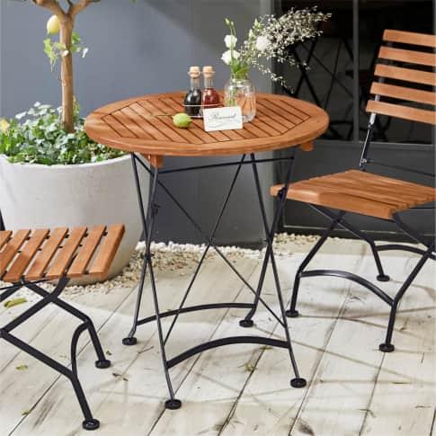 Outdoor-Tisch, rund Bellagio, Klapptisch, rund, Landhausstil, Holz, Metall, ca. Ø70cm Inszeniertes Bild
