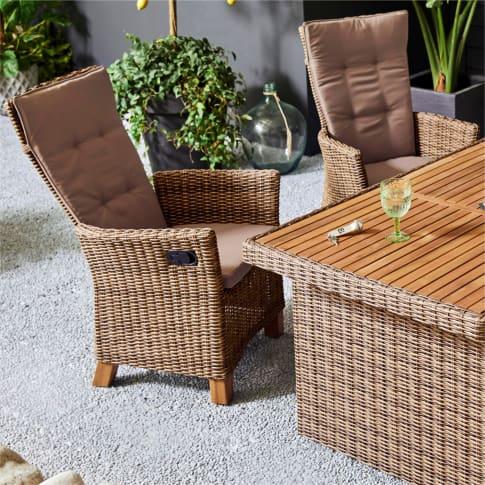 Outdoor-Sessel-Set mit Gasdruck, 2-tlg. Florenz Inszeniertes Bild
