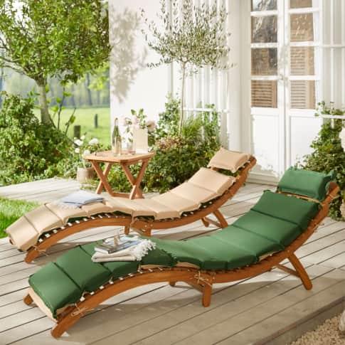 Outdoor-Liege inkl. Wendeauflage Verve, geschwungene Gartenliege, Natur-Look, Holz, ca. B54 cm Inszeniertes Bild