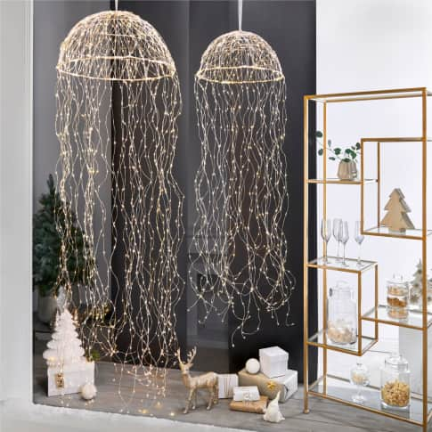LED-Hängeleuchte Jelly, in 2 Größen erhältlich, Metall, Draht, LEDs, Ø 45 oder 60 cm Inszeniertes Bild