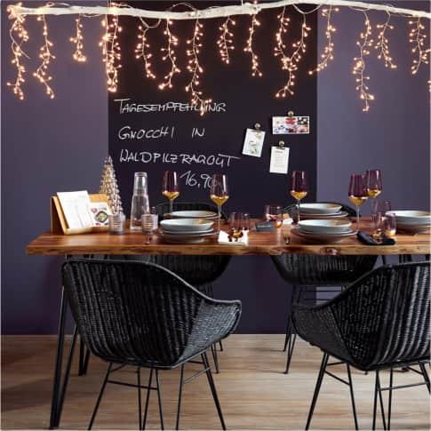 LED-Vorhang Eistropfen, kupferfarben, LEDs, Draht, ca. 255 cm breit Inszeniertes Bild