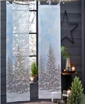 Organdy-Vorhang Winterwald, vollflächiger Print, 100% Baumwolle Inszeniertes Bild