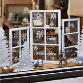 Deko-Objekt Fenster-Paravent X-Mas, weißer Print auf Echtglas, Holz, Glas, ca. 120 cm breit Inszeniertes Bild