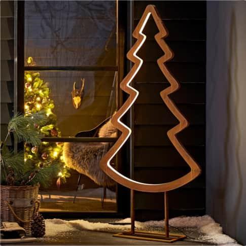 LED-Deko-Objekt Tanne, mit LED-Lichtleiste, Metall , ca. 150 cm hoch Inszeniertes Bild
