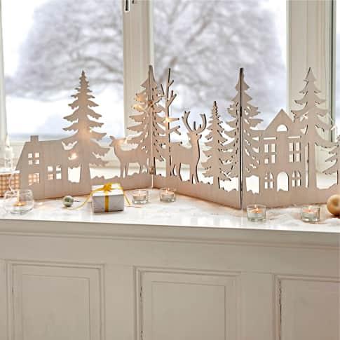 Weihnachts-Silhouette Waldzauber, zum Aufklappen, Faserholz, ca. 40 cm hoch Inszeniertes Bild