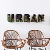Wandobjekt-Set, 5-tlg. Schriftzug, Urban, zum individuellen Dekorieren, skandinavisch, Metall Inszeniertes Bild