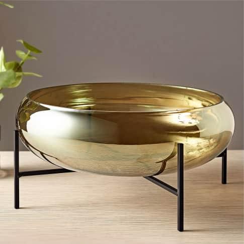 Deko-Glas-Schale mit Ständer, changierendes Glas, Glas, Metall, Ø 34 cm Inszeniertes Bild