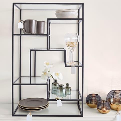 Regal Kaya, Metall, Glas, H 80 cm Inszeniertes Bild