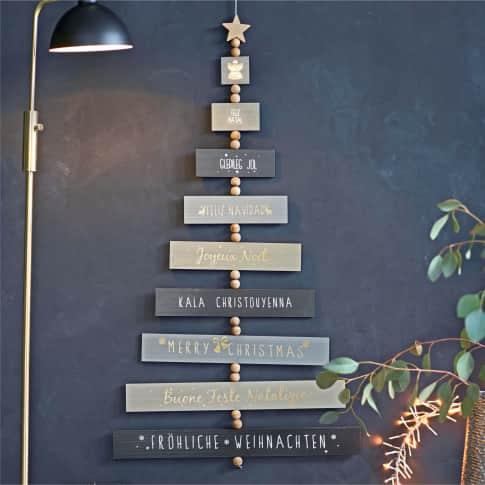 Wand-Deko-Schild X-MAS, mit weihnachter Botschaft, MDF Inszeniertes Bild