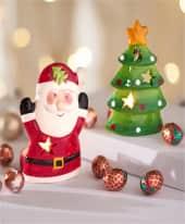 Windlichter-Set, 2-tlg. Weihnachtsmann und Tannenbaum, je ca. 50g Weihnachtssüßwaren Inszeniertes Bild